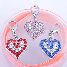 Colorful Rhinestone Jewelry Heart Shaped Collar Charm Pet Tag Dog Accessories
