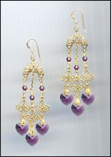 Elegant Gold Filigree Earrings with Swarovski AMETHYST PURPLE Crystal Hearts