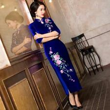 Chinese Style Womens Long Dress Embroidery Evening Dress Cheongsam Qipao Size YT