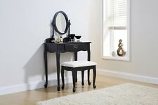 F Queen Anne Dressing Table Antique Retro Shabby Chic Vintage Black