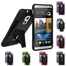 AMZER RUGGED DOUBLE LAYER ARMOR KICKSTAND HYBRID CASE COVER  FOR HTC ONE MAX