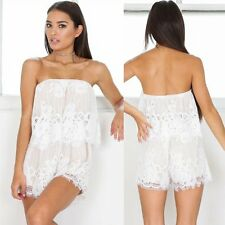 Sexy Women Ladies Lace Strapless Bodycon Jumpsuit Romper Clubwear Playsuit Party