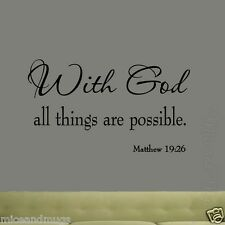 With God All Things Are Possible Matthew 19-26 Wall Decal Quote Bible Scripture