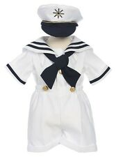 New Baby Toddler Boys Nautical White Sailor Short Suit Set Outfit with Hat 160F