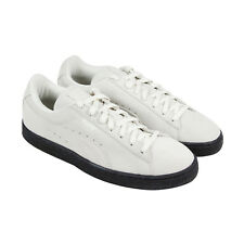 Puma Suede Black Sole Mens White Suede Lace Up Lace Up Sneakers Shoes
