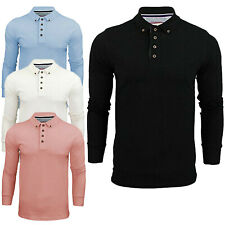 New Mens Brave Soul Long Sleeved Button Detail Collar Polo T-Shirt Size S M XXL