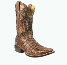 Corral Men's Caiman Overlay/Embroidery Cowboy Western Boots Chocolate A3388