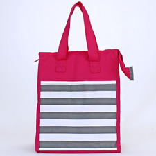 PINK & GRAY  STRIPE  Insulated Lunch Tote Bag-Lunch Bag