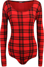 New Plus Size Womens Tartan Check Print Long Sleeve Scoop Ladies Bodysuit 16-26