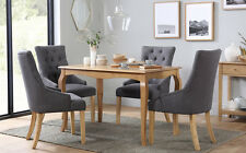 Clarendon & Duke Oak Dining Table and 4 6 Chairs Set (Slate)
