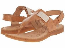 NEW Born Belluno  Leather Thong Flat Sandal T-Strap Slingback Brown Womens Sz 8