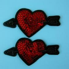 2 Love Heart Sequin Arrow Iron on Sew Embroidered Patch Badge Applique Motif Lot