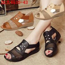 Womens Leather Cut Out Wedge Heel Sandals Buckle Strappy Peep toe Shoes Hot ytth