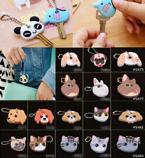 Kawaii Animal Silicone Key Caps Head Covers Keychain Case Novelty Keyring
