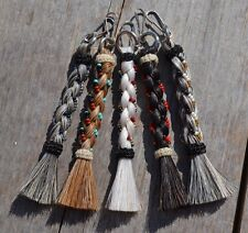 100% Natural Braided Horsehair Zipper Pull with Beads - Various Colors - 4""