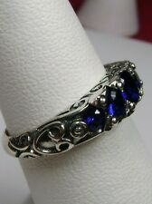 *Sapphire* Solid Sterling Silver Georgian/Edwardian Filigree Ring Size Any/MTO