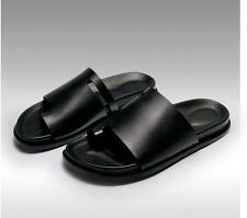 New Roman Summer Flip Flops Flat Heels Mens Leather  Black Sandals Slippers Size