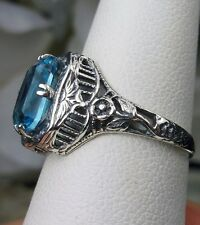 *Blue Gem* Edwardian/Deco Sterling Silver Floral Filigree Ring {Made To Order}