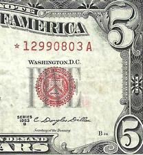 1953B $5 RED Seal *STAR* Legal Tender!  VF! Old US Paper Money!