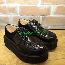 Womens round toe platform wedge heel creeper pumps lace up punk cosplay shoes