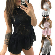 Sexy Women Casual Beach Lace Sleeveless Round Neck Tops White/Pink/Gray/Black