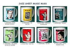 JAZZ.VINTAGE SHEET MUSIC MUGS.ACKER BILK.KENNY BALL.CLEO LAINE.8 DESIGNS.NEW.BNI