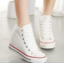 1yt Womens Hidden Lace Up Platform Wedge Canvas High-Top Sneakers Trainers Shoes