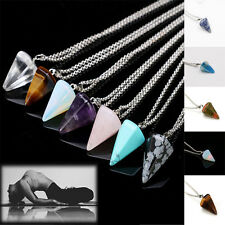 Six Prism Cone Pendulum Plane Quartz Necklace Natural Crystal Pendant Chain