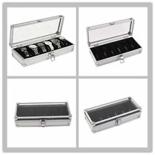 6 Grid Slots Jewelry Watches Display Storage Box Case Aluminium Watch Box Lot GH