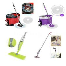 360° Rolling Spin Mop & Bucket Set Foot Pedal / 380ML Microfiber Spray Mop E8Q0