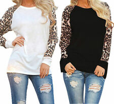 New Fashion Loose T-shirt Coffee Leopard Long Sleeves Casual Tops Blouse Lot GH