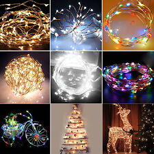 6/10/15/20m Solar Powered Warm White Copper Wire Outdoor String Fairy Light GH