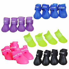 Pet Dog Puppy Rain Snow Boots Shoes Booties Rubber Waterproof Anti-slip 4pcs