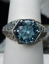 3ct *Aquamarine* Solid Sterling Silver Victorian Filigree Ring [Made To Order]