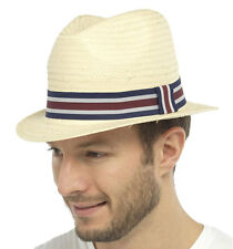 Mens Straw Fedora Trilby Panama Style Summer Sun Hat With Striped Outer Band