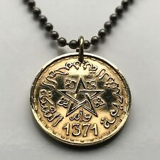 Morocco 20 Francs coin pendant MAROC Moroccan 5-pointed STAR pentagram n000293