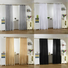 SMOOTH SATIN THERMAL BLACKOUT CURTAINS SHEER VOILE WINDOW PANEL WITH GROMMET TOP
