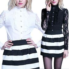 UK Womens Casual Long Sleeve Lace OL Tops T-shirt Ladies Loose button Blouse Sz