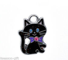 Wholesale Lots Gift Silver Tone Enamel Cat Charm Pendants 19x14mm