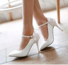Womens glitter Pumps High Heel Ankle Strap buckle Patent Leather Bridal Shoes Sz