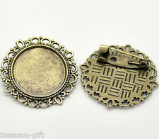 Wholesale Lots Bronze Tone Round Cameo Frame Setting Brooches 32mm(Fit 20.5mm)