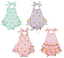 Newborn Infant Baby Kids Girls Polka Bodysuit Romper Jumpsuit Outfits Clothes