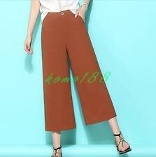 Womens OL dress cropped pants wde leg loose casual pants summer shorts trousers