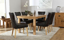 French Farmhouse & Bewley Oak Dining Table & 4 6 Chairs Set (Brown)