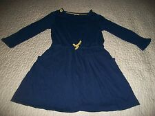 Mini Boden Dark Blue Long-sleeved 100% Cotton Dress - Size 9-10 Years