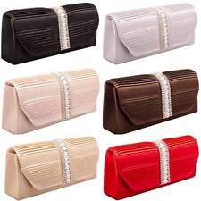 Ladies Womens Satin Clutch Handbag Purse Prom Wedding Evening Shoulder New C42