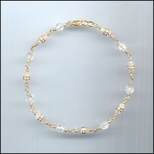 Dainty Gold Filled Anklet with Swarovski CLEAR Crystals & Rondelles