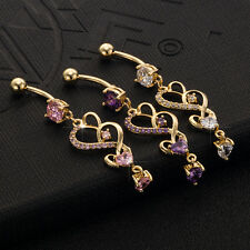 CZ Heart Dangle Helix Belly Ring Piercing Shaped Gold Plated Body Jewelry