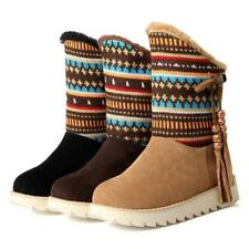 Fringe Snow warm Boots Womens flat Winter Shoes Lace Up Fur lined ankle Boots