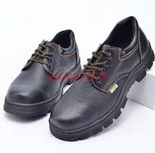 mens outdoor round steel toe work safty shoes lace up antiskid shoes plus size